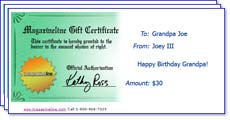An example gift certificate